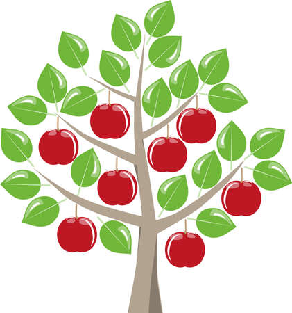 harvest time: Leafy fruit tree with ripe red apples harvest in summer, green leaves on a white background.Symbolic fruit tree as a graphic on white. Illustration