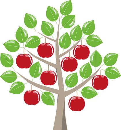 Lommerrijke fruitboom met rijpe rode appels oogsten in de zomer, groene bladeren op een witte background.Symbolic fruitboom als grafisch op wit.