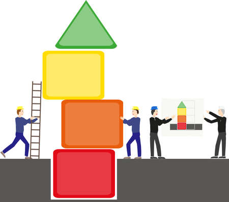 react: Team of construction workers to build a tower of different colors.Architects foreman instruction on plan for the red, orange, yellow and green building.