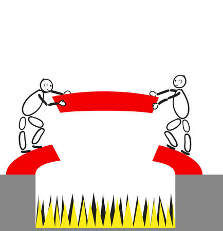 Together build two males have a red bridge over a dangerous precipice with yellow and black lace. One obstacle is overcome.