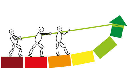 Male pack join forces to achieve a common goal. They draw their common objective in the green field. Abstract drawing of stick figures with arrow.