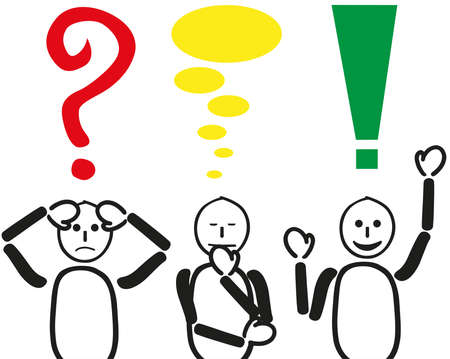 troubleshooting: Starting with the problem worrying do find a solution. Presented with three males and this question mark, thought bubbles and exclamation marks. With appropriate facial expressions.