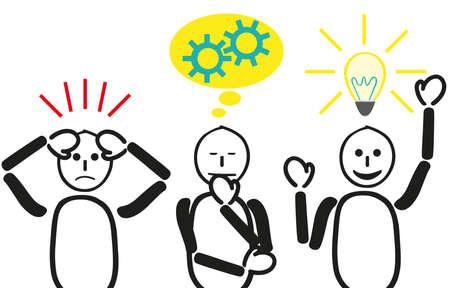ストレスと解決するために思考と検索ソリューションの問題。3 つの男性の問題と、それについて考え、アイデアを持っています。3 つの顔の特徴と  イラスト・ベクター素材