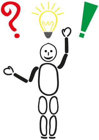 A stick figure with a question mark, a light bulb and an exclamation point. Symbolic of question, idea and solution. Illustration