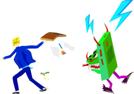 overwhelmed: Man flees from rampaging technology, with a briefcase. Illustration