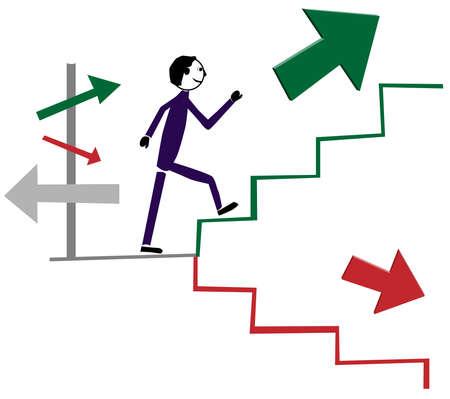 Person goes green arrow following up stairs. Векторная Иллюстрация