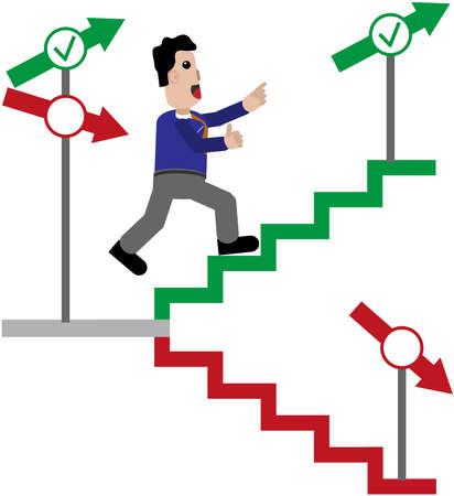 orientate: Man sprints up stairs. Illustration