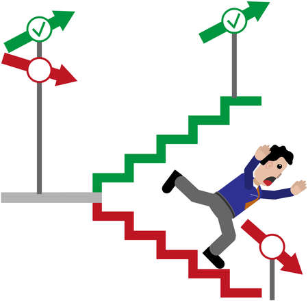 unfavorable: Man falls down stairs. Illustration