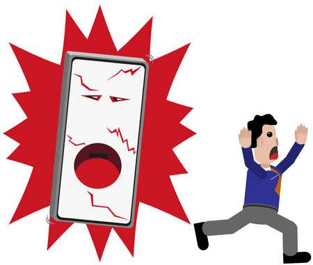 Teléfono de la explosión, una persona se escapa.