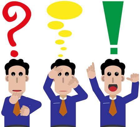 psique: Tres machos, pregunta, piensan y solución. Vectores