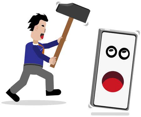 Man pursues hammer mobile phone. Ilustrace