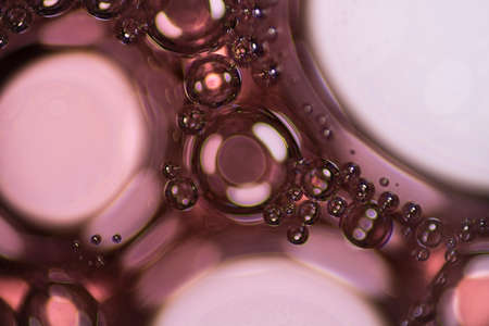 air bladder: Red liquid soap bubbles under the microscope.