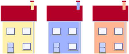 Klassieke vrijstaande huizen in harmonieuze kleuren.