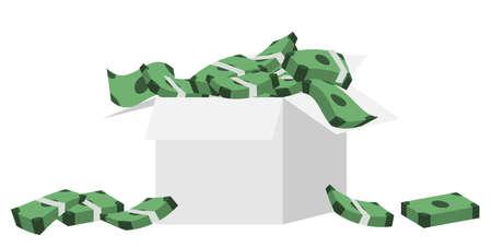 L'argent se répand dans une boîte en carton.