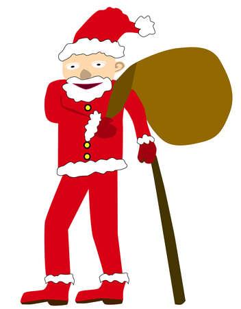 Santa with linen bag.