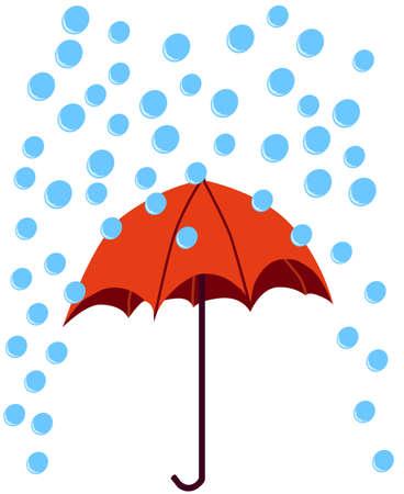 우산에 빗방울이 떨어짐