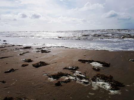 Sandy beach with waves. 免版税图像