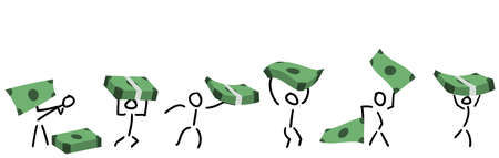 Stick Figures Transporting Banknotes and Bundles.