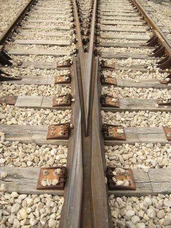 railway pair,railway control center,two tracks � vertical photo