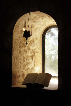 disciples: window and bible Stock Photo