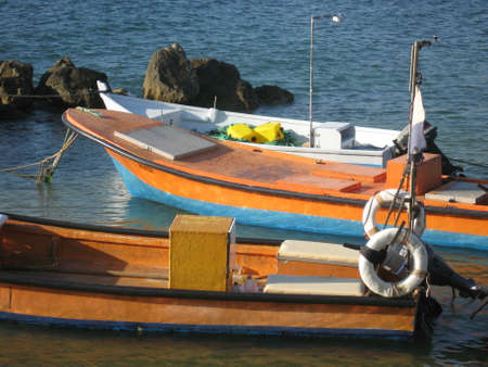 Colorful boat in the sea. Picture taken in Israel photo