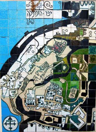 yaffo: old map of historic city Yaffo in Israel