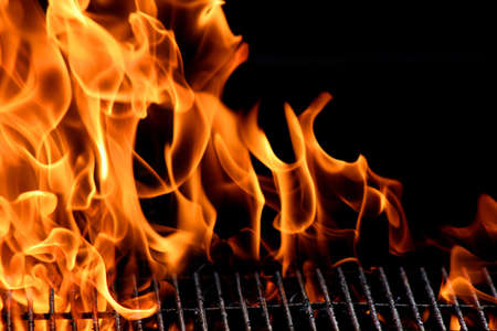 grill: bbq grill flame, hot burning grill, outdoors