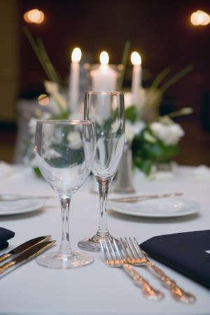 wedding table, glass and table setting photo