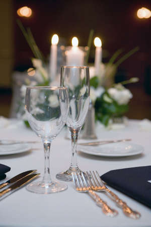 table: wedding table, glass and table setting