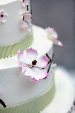 Wedding cake decorated with  apple tree flowers photo