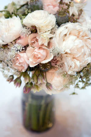 peony flowers decoration on the wedding date, close up color image