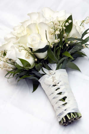 white rose flower bouquet, for the bride on the wedding date