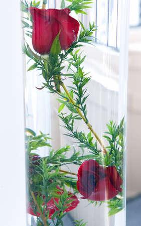 wedding decoration, red rose  in the vase Banco de Imagens