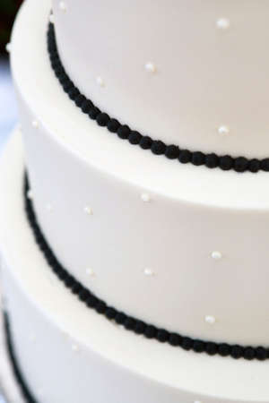 decoraited wedding cake black and white colors photo