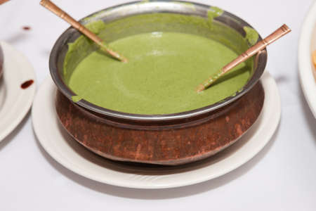 pani: Indian traditional food mint Chutney, green color
