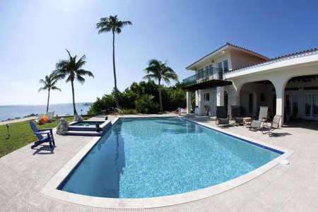 бассейн: Красивый бассейн с пальмой и дома в тха Флориде