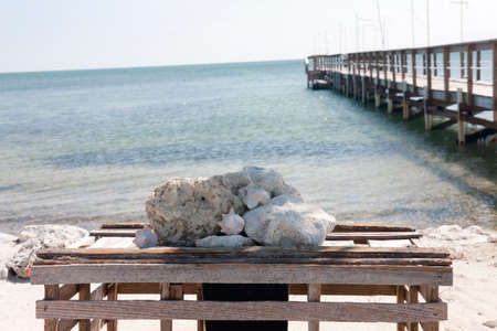fishing Pier at the Florida with the clear blue sky Banco de Imagens
