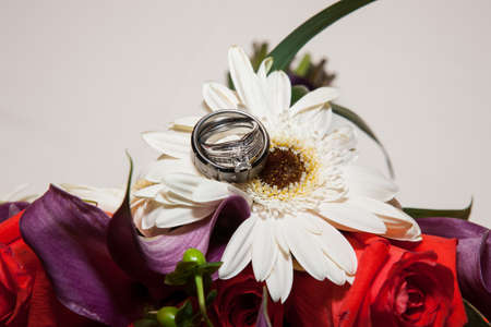 gerbera, tulips and mix of summer flowers bouquet for the wedding ring