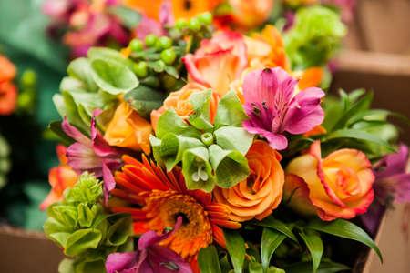 Gerbera and Variation of flowers, bouquet Banco de Imagens