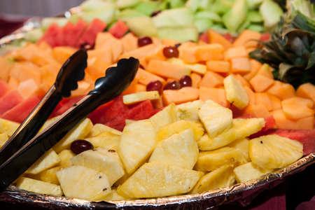 big variation of sliced mix fruits
