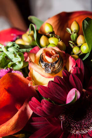 rose, gerbera, tulips and mix of summer flowers bouquet for the wedding ring Banco de Imagens