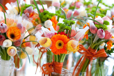 gerbera, tulips and mix of summer flowers bouquet for the wedding in the Florida close up