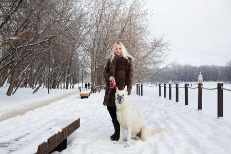 Beautiful blonde woman walking with a white shepherd dog in winter 스톡 콘텐츠