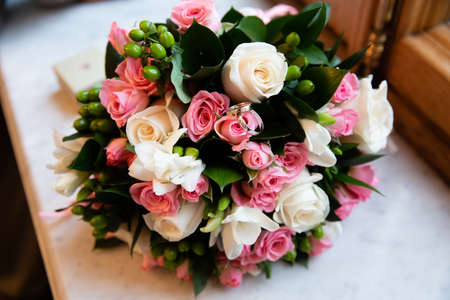 Beautiful bridal bouquet of different flowers