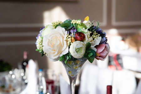 Wedding table with flower composition