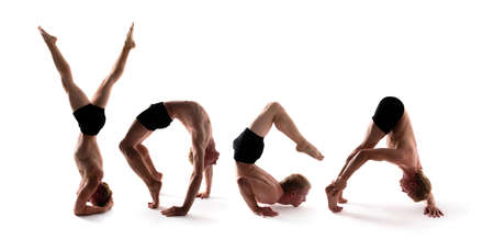 Yoga alphabet, YOGA athlete forming word over white background Фото со стока