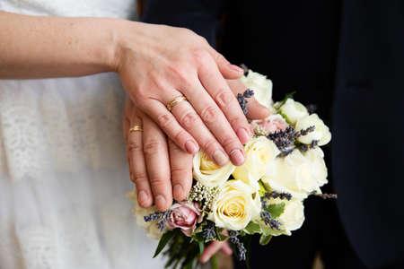 Wedding couple with wedding rings