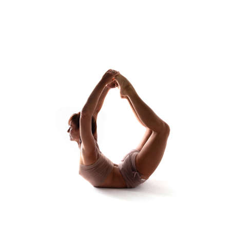 Yoga alphabet. The letter O formed by gymnast body Imagens