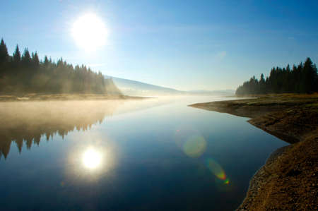 sunrise lake: Scenic Lake and Forest in the Sunset