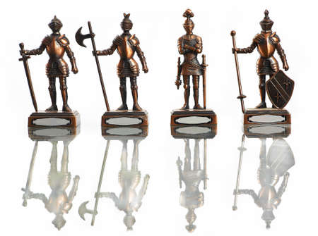 hauberk: four figures of knights isolated on white
